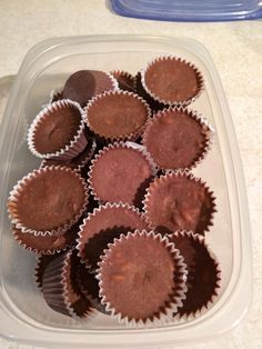Skinny Chocolate extraordinaire! by Heidi Adamson Barton 2/3 c coconut oil, liquid 1/2 c heaping peanut butter 1/4 c heaping cocoa powder 1 scoop vanilla protein powder 1/3 c xylitol 1/4 tsp stevia 1tsp vanilla Blend in blender until smooth, (approx 1 min) Stir in 1/2 c shredded coconut 1/2 c combo of seeds/chopped nuts Fill mini muffins tins or mold and freeze til hard Can add 3/4 c oats to make them taste like no bake cookies. They were yummy!