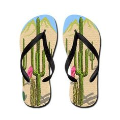 Desert Cactus Flip Flops