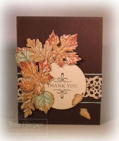 Stampin' Up! ... handmade thank-you card ... dark brown base ... fussy cut leaves in Fall colors ... like it!