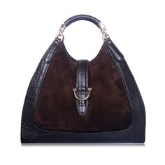 Vintage stirrup Brown Croc pattern Leather handbags handle bag OUOVO HDC094  Same as one of gucci bag