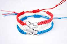 Red White and Blue Infinity Bracelets Fourth of July 4th
