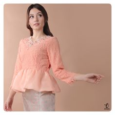 simple long sleeve lace top, kebaya modern indonesia peplum brokat http://www.eiwaonline.com