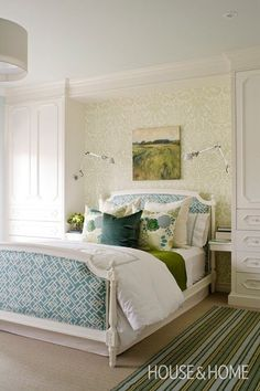 closets flanking bed - teenage girl bedroom via House & Home
