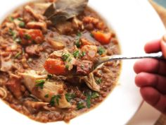 A rich and hearty chicken and lentil stew made in just 30 minutes with the pressure cooker.