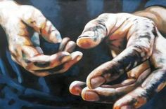 "Saatchi Art Artist thomas saliot; Painting, ""The dirty hands"" #art This reminds me of my fathers hands after he worked on the car"