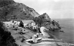 The Catalina Island airport, at Hamilton Cove near Avalon in It was the airport was home to the Wilmington-Catalina Air Line, which provided transportation to and from the island for tourists. California History, Vintage California, Southern California, Santa Catalina Island, San Fernando Valley, Flying Boat, Aircraft Photos, Ventura County, City Of Angels