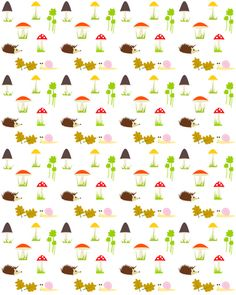 free digital and printable forest themed background pattern – mushrooms, hedgehogs, snail pattern – Herbstpapier – freebie | MeinLilaPark – digital freebies