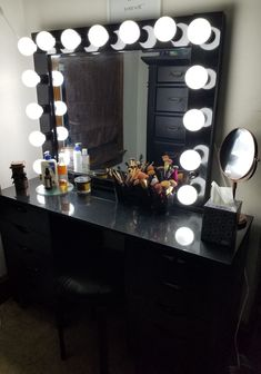 DIY black makeup vanity. Black Makeup Vanity, Silver Wall Mirror, Fathers Day Sale, Lowes Home Improvements, Beauty Room, Framing Materials, Diy Projects, Cosmetic Organization, Make Up