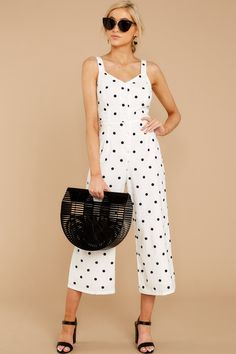 2b3cfa3a1b Lovely White Polka Dot Jumpsuit - Sleeveless Jumpsuit - Playsuit -  56 –  Red Dress Boutique