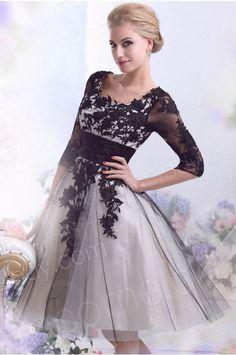 56b1a849e84 A-Line Knee Length Tulle Gothic Wedding Dress CWZK13002