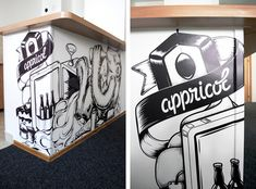 escapekit:  Appricot Office Walls Serbian artist and designerNina Radenkovichas designed for the start-up Appricot superb illustrations to decorate the walls of their offices.