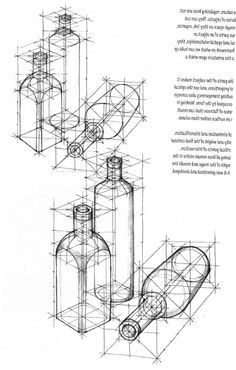 geometric bottle drawing