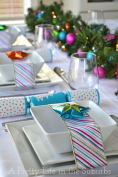 Pink Colorful Christmas-Table-Setting- Why not break away from the norm!