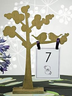 Wooden Die Cut Trees with Love Birds (Set of 2) from Wedding Favors Unlimited