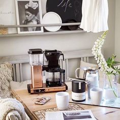 Moccamaster sitting pretty half full of a fresh batch ready to go! Shop Link in Bio by Filter Coffee Machine, Drip Coffee Maker, Coffee Van, Coffee Images, Cooking Equipment, Ready To Go, Black Coffee, Espresso Machine, Interior Decorating