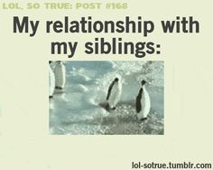 My relationships with my siblings. Hahaha, so true! (click through for the animation)