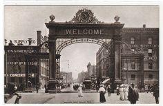 Welcome Arch Streetcar Tram Denver Colorado 1912 postcard