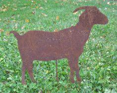 Goat Garden Stake / Garden Decor / Rustic Garden Decor / Yard Art / Metal Garden Art / Lawn Ornament