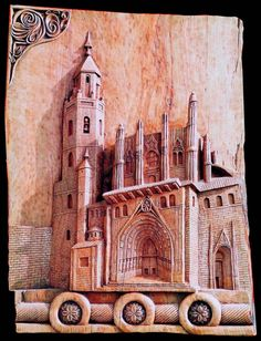 M. Buen. Antigua catedral de Huesca. madera de fresno 45 x 65 centímetros. La madera se alegra por quien la trabaja, y la persona se alegra por la madera, porque existe y puede usarse.