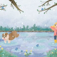 Pinch to zoom  a little sneak peak at my senior graduation show project (minus text). It's a children's story about the joy of the seasons and the importance of taking care of the earth as told through different girls and her different dogs   .   #digitalart #illustration #characterdesign #kidlit #kidlitart #childrensbook #childrensliterature #spring #landscape #conceptart #photoshop #art #rain
