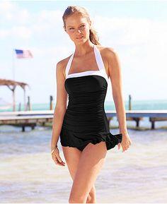 Lauren by Ralph Lauren Swimsuit, Halter Ruched Swimdress