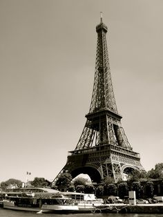 beautiful, black and white, boat, city, eiffel tower, france