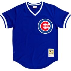 Ryne Sandberg Cubs Jersey ($80) ❤ liked on Polyvore featuring tops, shirts, shirt tops, blue shirt, jersey top, blue jersey and polyester shirt