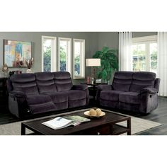 Ryker Reclining Sofa And Loveseat 2 Piece Set Cleaning Greenock Ac Pacific Leather Furniture Of America Reanold Transitional Grey Tufted Fabric