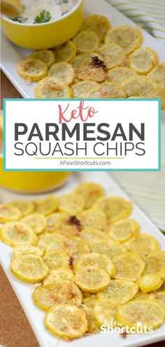Parmesan Squash Chips - Keto Vegetarian - Ideas of Keto Vegetarian - A low carb snack or appetizer that is a perfect way to use up some of that summer squash. These Parmesan Squash Chips take only minutes to make and are a tasty keto-friendly snack. Ketogenic Diet Meal Plan, Ketogenic Diet For Beginners, Diet Meal Plans, Ketogenic Recipes, Keto Meal, Ketosis Diet, Meal Prep, Ketogenic Cookbook, Pescatarian Recipes