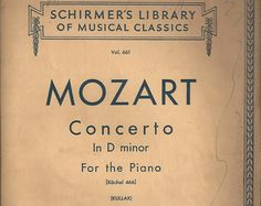 Biblioteca de clásicos de Schirmer Vintage musicales, concierto de Mozart en re menor, Vol. 661, C1939