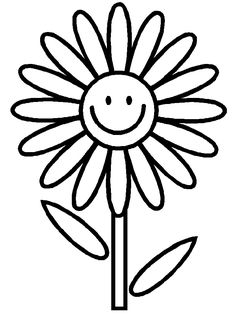 Very Simple Flower Coloring Page For Preschool | Crafts - Coloring ...