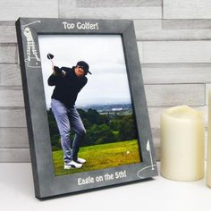 Personalised Stone Effect 'Top Golfer' Photo Frame by Urban Twist, the perfect gift for Explore more unique gifts in our curated marketplace. Personalized Photo Frames, Print Your Photos, Frame Stand, Text Features, Hole In One, On The High Street, Photo S, Fathers Day, Handmade Items