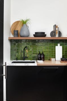 Boho Kitchen, Kitchen Backsplash, Kitchen Dining, Kitchen Decor, Metro Tiles Kitchen, Black Kitchens, Home Kitchens, Olive Green Kitchen, Kitchen With Green Walls