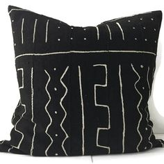 African Mud cloth Pillow Cover, Ethnic, Handwoven, Black and Tan, Various Sizes