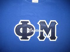 #DesignerGreek #phimu #customshirts #greekletters #applique #embroidery #collegeapparel