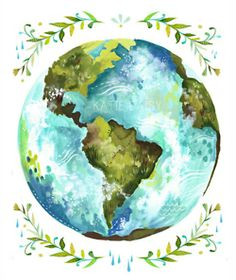 Gorgeous watercolor globe