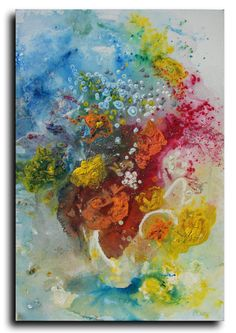 Original art Still Life painting  Flowers  acrylic di studiomosaic, $299.00