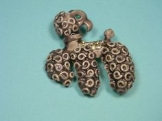 Ceramic Dog Brooch or Pin Unusual Vintage Figural by dianadivine