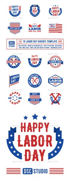 15 Labor Day Badge Vector EPS, AI Illustrator. Download here: https://graphicriver.net/item/15-labor-day-badge/17697588?ref=ksioks