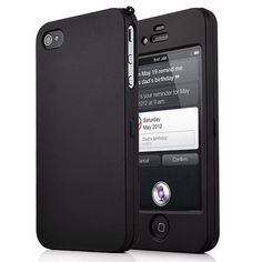 Rubberized Protective Hard Case For iPhone 4S (Black) - Front and Back