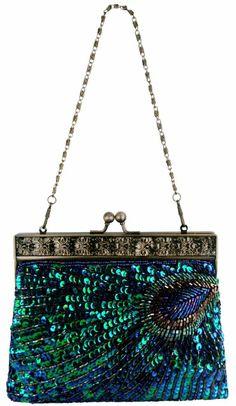 Amazon.com  Blue Antique Beaded Sequin Turquoise Sunburst Clutch Evening Handbag  Purse w  fa4b96f03a