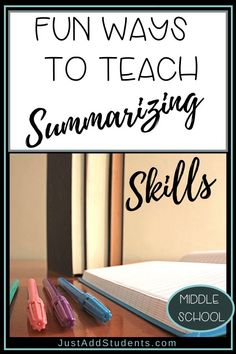 Students often struggle with writing summaries. This post has creative ideas and tips for teaching summarizing -- and your students will enjoy writing them! A variety of ways to practice helps your students build this important skill for reading and writ Middle School Writing, Middle School English, Middle School Teachers, High School, Tools For Teaching, Teaching Writing, Teaching Science, Science Experiments, Study Skills