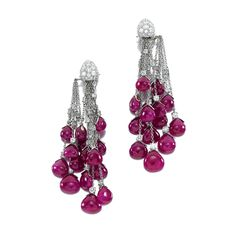 PAIR OF RUBY AND DIAMOND EARRINGS, MICHELE DELLA VALLE  Each designed as articulated lines set with brilliant-cut diamonds, each terminati...