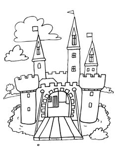 Kleurplaat Kasteel - Kleurplaten.nl Colouring Pages, Coloring Books, Art For Kids, Crafts For Kids, Doodle People, Knight Party, Princess Coloring, Dragons, Butterfly Crafts