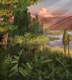 Australian Museum Late Triassic plant community by Karen Carr