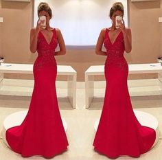 Amazing Mermaid Prom Dress Red Long Chiffon Lace Modest Evening Dresses For Senior Teens