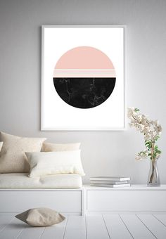 Blush Black Marble Circle Printable Downloadable Abstract | Etsy Pink Abstract, Abstract Wall Art, Digital Wall, International Paper Sizes, Black Marble, White Decor, Poster Prints, Blush, Minimalist