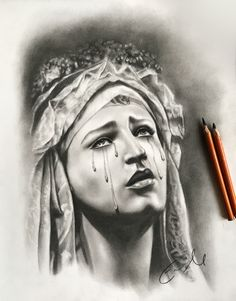 """Our Lady of Sorrows  11 x 14"""" Charcoal on paper 2018"""