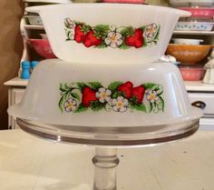 Vintage Glasbake Strawberry Dishes by MyDeerOwl on Etsy, $12.00