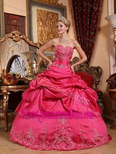 Hot Pink Sweetheart Amazing Dress for Quinceanera Decorated with Embroidery
